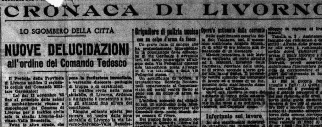 «Corriere del Tirreno», 10 novembre 1943